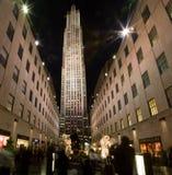 Het Centrum van Rockefeller bij de tijd van Kerstmis Stock Foto