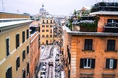 Het centrum van Rome onder sneeuw Stock Afbeeldingen