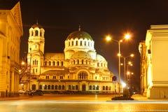 Het centrum van Sofia, 's nachts Bulgarije Stock Foto