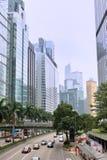 Het centrumgebied, straat en gebouwen van Hongkong Stock Afbeeldingen