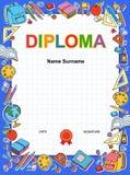 Het certificaat van het achtergrond jonge geitjesdiploma ontwerpmalplaatje Royalty-vrije Stock Afbeeldingen