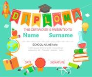 Het certificaat van het jonge geitjesdiploma stock illustratie