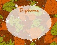 Het certificaatachtergrond van het jonge geitjesdiploma De herfstachtergrond met bladeren Royalty-vrije Stock Foto