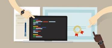 Het certificaatcertificatie van de programmeringsvaardigheid met laptop en het coderen app de programma's van de manuscriptsoftwa stock illustratie