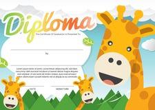 Het Certificaatmalplaatje van het jonge geitjesdiploma royalty-vrije illustratie