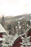 Het chalet van de de winterski, sneeuwlandschap, de winterachtergrond met exemplaarruimte stock foto