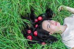 Het charmante meisje het brunette ligt op een groen gras op een open plek Haar ter plaatse Rode appelen in haar Het geheugen van  royalty-vrije stock foto's