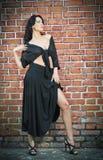 Het charmeren van jonge donkerbruine vrouw in zwarte en hoge hielen die dichtbij een rode bakstenen muur blijven Stock Afbeelding