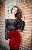 Het charmeren van jonge donkerbruine vrouw in zwarte kantblouse  Royalty-vrije Stock Afbeelding