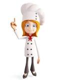 Het chef-kokkarakter met het richten stelt Royalty-vrije Stock Afbeeldingen