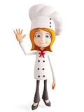 Het chef-kokkarakter met het zeggen tot ziens stelt Stock Fotografie