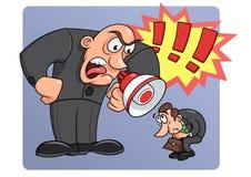 Het chef- schreeuwen bij zijn arbeider stock illustratie