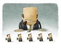 Het chef- spelen met werknemers vector illustratie