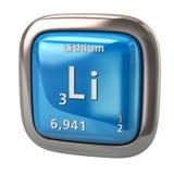 Het chemische element van lithiumli van het periodieke lijst blauwe pictogram Royalty-vrije Stock Afbeeldingen