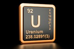 Het chemische element van uraniumu het 3d teruggeven stock illustratie