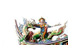 Het Chinese beeldhouwwerk van de Draak en van de god Royalty-vrije Stock Fotografie