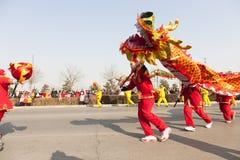 Het Chinese draak dansen Royalty-vrije Stock Foto