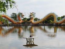 Het Chinese draakstandbeeld rond de pool, Kunsten behandelt een combinatie van stijl China en Thailand uniek Stock Afbeeldingen