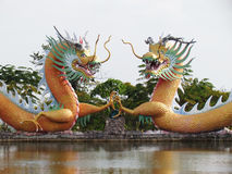 Het Chinese draakstandbeeld rond de pool, Kunsten behandelt een combinatie van stijl China en Thailand uniek Royalty-vrije Stock Foto