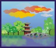Het Chinese huis op kust van de rivier Stock Afbeelding