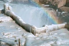 Het Chinese Hukou-Waterval bevriezen in de winter Royalty-vrije Stock Afbeelding
