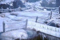 Het Chinese Hukou-Waterval bevriezen in de winter Royalty-vrije Stock Afbeeldingen