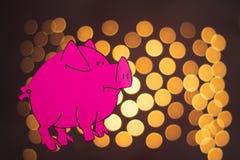 Het Chinese Jaar van het Dierenriemteken van Varken, sneed het Roze document varken, Gelukkig Nieuwjaar 2019 jaar op zwarte achte royalty-vrije illustratie
