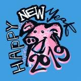 2019 het Chinese Jaar van het Dierenriemteken van Varkens Funky Druk royalty-vrije illustratie