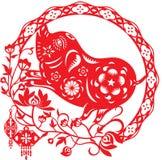 Het Chinese jaar van Gelukkige varkensillustratie in document sneed stijl stock illustratie