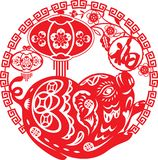 Het Chinese jaar van Gelukkige varkensillustratie in document sneed stijl royalty-vrije illustratie