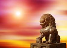 Het Chinese KeizerStandbeeld van de Leeuw Royalty-vrije Stock Foto