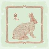 Het Chinese Konijn van het horoscoopteken Stock Foto's