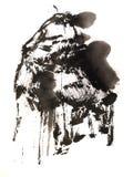 Het Chinese kwaststreek schilderen uit de vrije hand stock illustratie