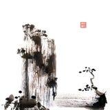 Het Chinese kwaststreek schilderen uit de vrije hand royalty-vrije stock foto's