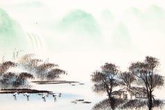 Het Chinese landschapswaterverf schilderen royalty-vrije illustratie