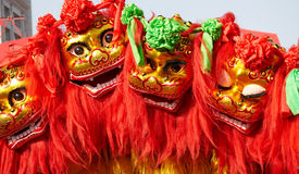Het Chinese leeuw dansen Royalty-vrije Stock Fotografie