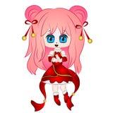 Het Chinese Meisje van Chibi Anime Royalty-vrije Stock Afbeeldingen