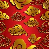 Het Chinese naadloze behang van de wolkengolf stock illustratie