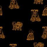 het Chinese nieuwe jaar van 2018 van geel hond naadloos patroon met gouden pootspoor, malplaatje voor kalender, affiche, banner royalty-vrije illustratie