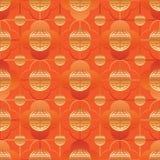 Het Chinese oranje gouden naadloze patroon met lange levensuur van het venstersymbool Stock Afbeelding