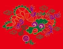 Het Chinese patroon van de borduurwerkdraak Royalty-vrije Stock Foto