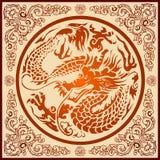 Het Chinese Patroon van de Draak Stock Afbeelding