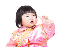 Het Chinese punt van de babyvinger omhoog stock foto