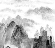 Het Chinese schilderen van berg en wolk vector illustratie
