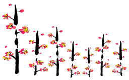 Het Chinese schilderen van bloem royalty-vrije illustratie