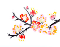 Het Chinese schilderen van bloemen, pruimbloesem Stock Afbeelding