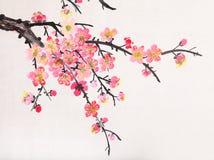 Het Chinese schilderen van bloemen, pruimbloesem Royalty-vrije Stock Afbeelding