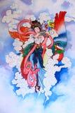 Het Chinese schilderen van de traditie op muur Stock Foto's