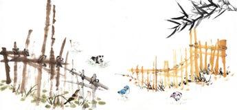 Het Chinese schilderen van het bamboe Royalty-vrije Stock Afbeeldingen