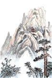 Het Chinese schilderen van hoge berg royalty-vrije stock afbeeldingen